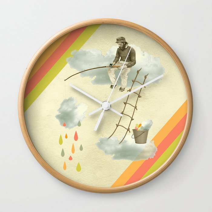 The fisherman who was cleaning the sky from the clouds Wall Clock