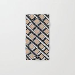 Pantone Hazelnut, Black & White Diagonal Stripes Lattice Pattern Hand & Bath Towel