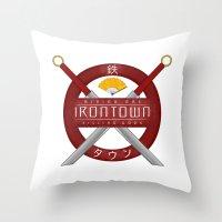 studio ghibli Throw Pillows featuring IRONTOWN - Studio Ghibli by Aonair Designs