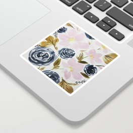 Pink and Blue Watercolor Bouquet Sticker