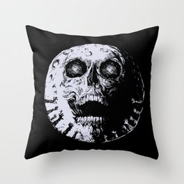 Skull moon scary hands and creepy skull universe Throw Pillow