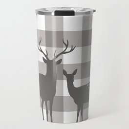 Deer & Birch Grey Plaid Travel Mug