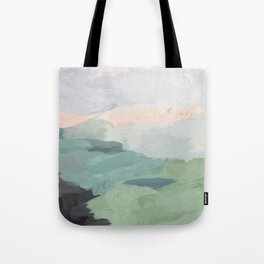 Seafoam Green Mint Black Blush Pink Abstract Nature Land Art Painting Tote Bag