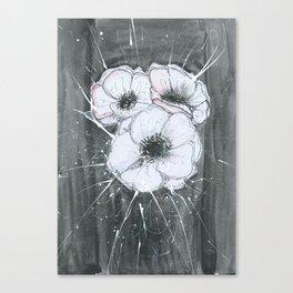 Anemone Flowers illustration gray neutral colors decor Canvas Print