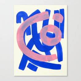 Tribal Pink Blue Fun Colorful Mid Century Modern Abstract Painting Shapes Pattern Canvas Print