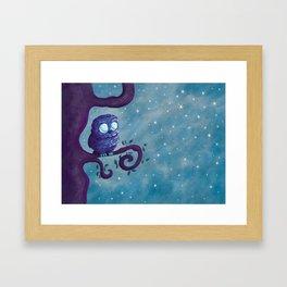Owl & the stars Framed Art Print