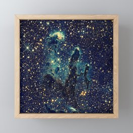 Pillars of Creation GalaxY  Teal Blue & Gold Framed Mini Art Print