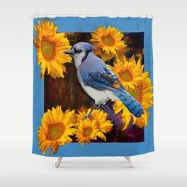 BLUE JAY YELLOW SUNFLOWERS ART Shower Curtain