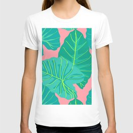 Giant Elephant Ear Leaves in Peachy Coral T-shirt