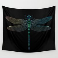 dragonfly Wall Tapestries featuring Dragonfly by ewdondoxja