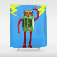 tape Shower Curtains featuring Tape Bot by @DrunkSatanRobot