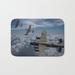 Lancaster Bomber and Spitfires Bath Mat