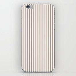 Mattress Ticking Narrow Striped Pattern in Dark Brown and White iPhone Skin