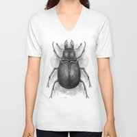 beetle V-neck T-shirts featuring Beetle by Salih Gonenli