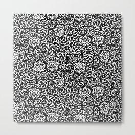 Black and White Tudor Floral Metal Print