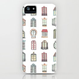 Paris windows watercolor iPhone Case