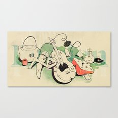 Music, tea & Cheese Canvas Print