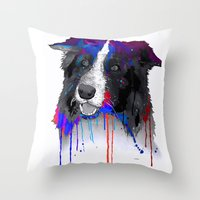 border collie Throw Pillows featuring Border Collie by Marlene Watson