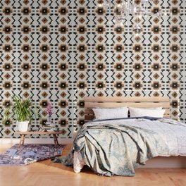Urban Tribal Pattern 5 - Aztec - Concrete and Wood Wallpaper