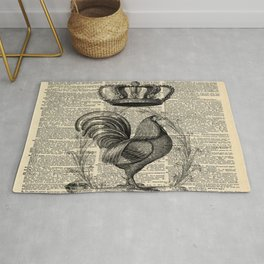 western country french chicken kitchen art farmhouse rooster Rug