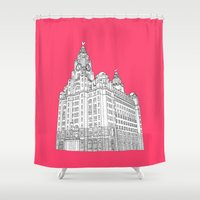 liverpool Shower Curtains featuring Liverpool Liver Building  by sarah illustration