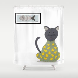 Cat in a Onesie Shower Curtain