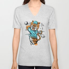 Tiger golfer WITH cap Unisex V-Neck