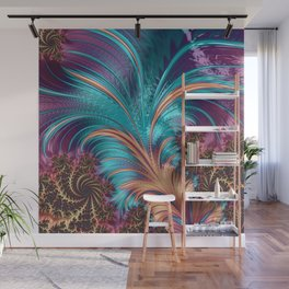 BLUE FEATHERS FRACTAL Wall Mural
