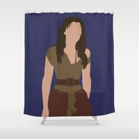 les miserables Shower Curtains featuring Eponine - Samantha Barks - Les Miserables minimalist with rain by Hrern1313