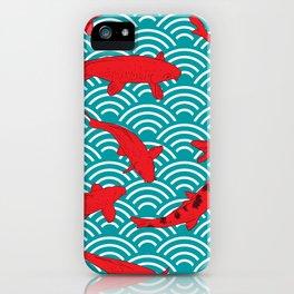 Koi carp. Red fish. black outline sketch doodle. azure teal burgundy maroon Nature oriental backgrou iPhone Case