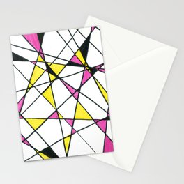 Geometric Neon Triangles - Pink, Yellow & Black Stationery Cards