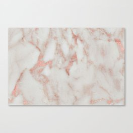 Marble - Metallic Blush Pink and White Marble by Nature Magick Canvas Print