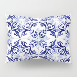 Azulejo V - Portuguese hand painted tiles Pillow Sham
