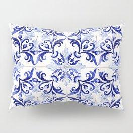 Azulejo V - Portuguese hand painted tiles Pillow Sham