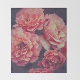 Roses in the night garden Throw Blanket