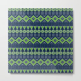 Mudcloth Style 2 in Navy with Lime Green Metal Print