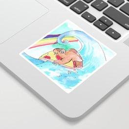 surfing sloth pizza rainbow Sticker