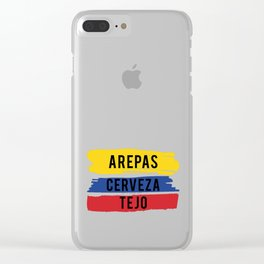 Funny Tejo print Gift Arepas Cerveza Tejo Colombia flag product Clear iPhone Case