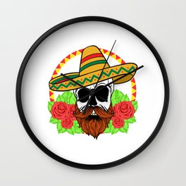 "Mexican themed Top Garment Apparel ""Skull Bones Flowers Rose Hat Leaves"" T-shirt Design Mexico Wall Clock"