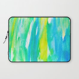Artistic Neon Turquoise Yellow Teal Watercolor Laptop Sleeve