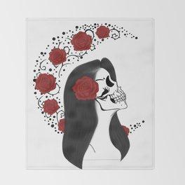 Skull girl rose Throw Blanket