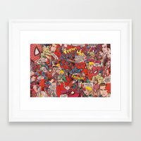 comic book Framed Art Prints featuring Spiderman comic book collage by vanityfacade