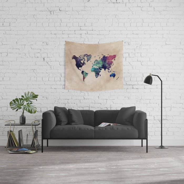 Cold World Map Wall Tapestry