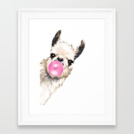 Bubble Gum Sneaky Llama Framed Art Print