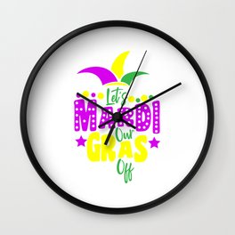 Mardi Gras Carnival Louisiana Costume Wall Clock