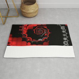 TGS Fractal Abstract in Red and Black Rug