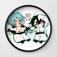 bleach Wall Clocks featuring BLEACH GrimmUlqui by PrincessBBree