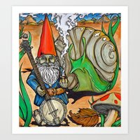gnome Art Prints featuring Gnome by Steven Suiter