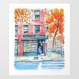 Bookstore in Manhattan | New York City | NY Watercolor Art Print
