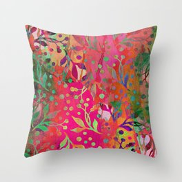 Tropical Summer colorful botanical pattern Throw Pillow